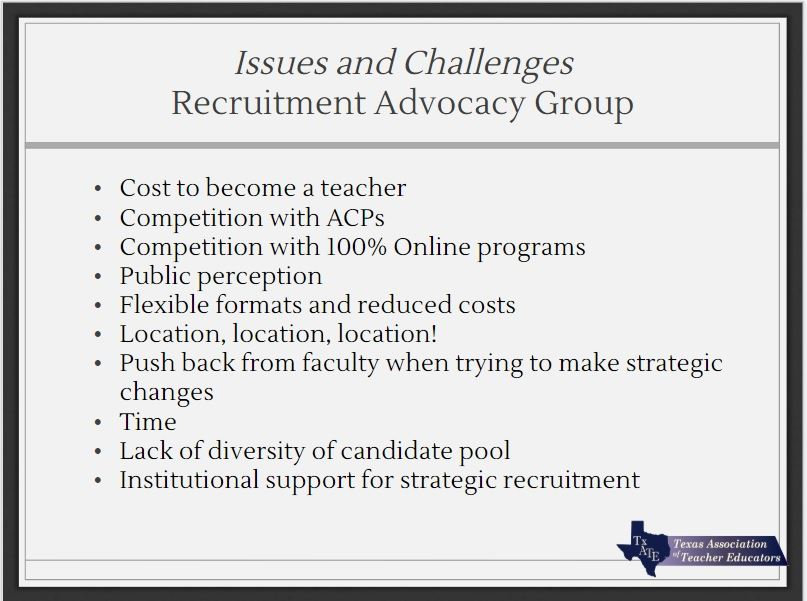 Texas Association of Teacher Educators - Enrollment and Recruitment